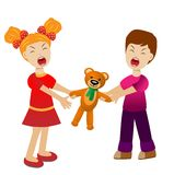 Girl and boy divide a toy bear cry. Vector illustration Stock Photography