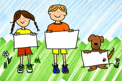 Girl, boy and dog with signs on ink blots. Cartoon illustration of boy, girl, and dog with blank sign on real ink marker doodle of sky and grass Stock Photography