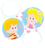 Girl and Boy dreaming. Children dream of love or friendship Stock Photography