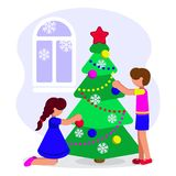 Girl and boy dress up a Christmas tree for the holiday. vector illustration