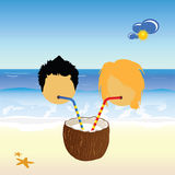 Girl and boy drink coconut milk vector Stock Photography