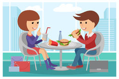Girl and boy eating fast food. Vector illustration of a people at table with sandwiches drinks. Stock Photo