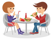 Girl and boy eating fast food. Vector illustration of a people at table with sandwiches drinks. Royalty Free Stock Photos