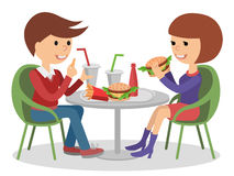 Girl and boy eating fast food. Vector illustration of a people at table with sandwiches drinks. Stock Image