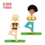 Girl and boy are engaged in a kids yoga. Sports or exercise. Cartoon flat character isolated white background. Vector Royalty Free Stock Images