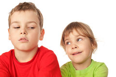 Girl and boy exchange glances between themselves Royalty Free Stock Photos