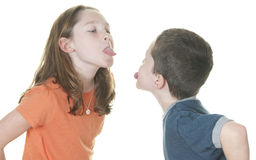 Girl and boy in fight. Young girl and boy in fight Royalty Free Stock Image