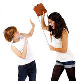 Girl and boy are fighting Stock Images