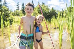 Cute girl and boy fishing with a net on a lake. A girl and boy fishing with a net on a lake stock image