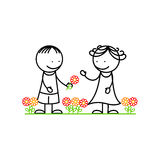 Girl and boy with flowers. Happy girl and boy with flowers on white background Stock Images