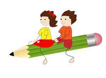 Girl and boy fly on a pencil Royalty Free Stock Photos