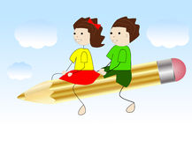 Girl and boy fly on a pencil Royalty Free Stock Photo