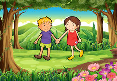 A girl and a boy at the forest Stock Photo