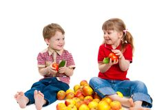 Girl and the boy with fruit Royalty Free Stock Images