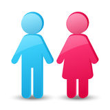 Girl and boy glossy icons Royalty Free Stock Photo