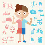 Girl and Boy. Girl and Boy half body with object icon Stock Images