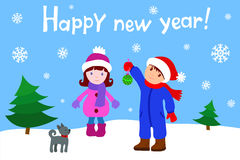 Girl and Boy happy new year Royalty Free Stock Photo