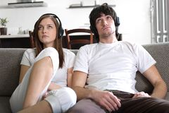 Girl and boy in headphones Royalty Free Stock Photo