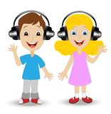 Girl and boy in headsets on a white background Royalty Free Stock Photo