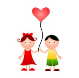Girl and boy with heart in hands Stock Photo
