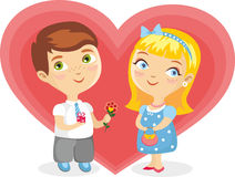 Girl Boy Heart Isolated Royalty Free Stock Photography