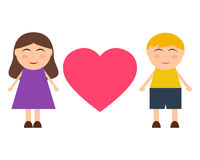 Girl and boy with a heart Stock Photo