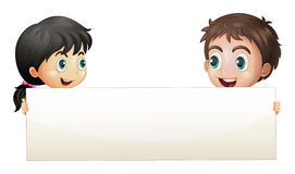 A girl and a boy holding an empty banner Stock Photography