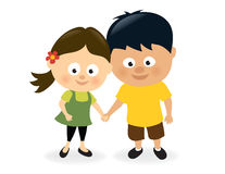 Girl and boy holding hands royalty free illustration