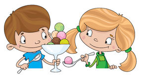 Girl and boy with ice cream Royalty Free Stock Images