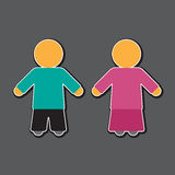Girl and boy icon in blue and pink Royalty Free Stock Photo