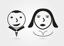 Girl and boy icon on white background. For design free characters Royalty Free Stock Photo