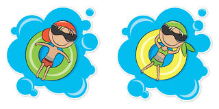 Girl and boy on inner tube Stock Photo