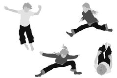 Girl and boy jumping Stock Image