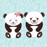 Girl and boy Kawaii funny panda white muzzle with Royalty Free Stock Photography
