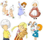 Girl boy kids kindergarten clipart cartoon style  Stock Photo