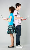 Girl boy and laptop Royalty Free Stock Photography