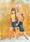 Girl and boy laughing Stock Photos