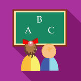 Girl and boy learning to write letters icon. Preschool girl and boy learning to write letters and read icon in flat style on a fuchsia background stock illustration
