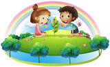 A girl and a boy looking at the plant Royalty Free Stock Image