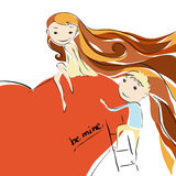 Girl and boy in love. Proposal. Girl and boy in love. Flirting. Proposal Royalty Free Illustration