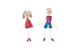 Girl and boy make in quilling art Stock Photography