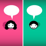 Girl and boy, man and woman speech bubbles. Vector flat illustration. Stock Photo
