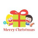 Girl and boy merry christmas gift Stock Photos
