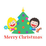 Girl and boy merry christmas gift tree Stock Photography