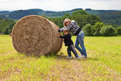 Girl and boy on the mowned field. Stock Images