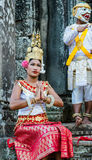 Boy and girl dressed in traditional Cambodian clothings. In Angkor Wat,Siem Reap, Cambodia Stock Images