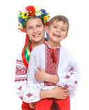 Girl and boy in the national Ukrainian costume Royalty Free Stock Image