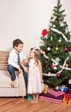 Girl and boy near a fir-tree Royalty Free Stock Photo
