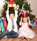 Girl and boy near a fir-tree Royalty Free Stock Photos