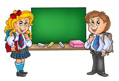 Girl and boy with old chalkboard Royalty Free Stock Photo